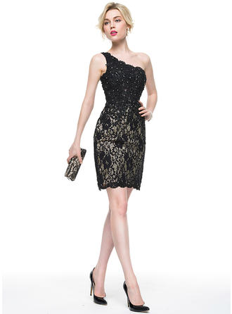 Sheath/Column Lace Cocktail Dresses Beading Sequins One-Shoulder Sleeveless Knee-Length