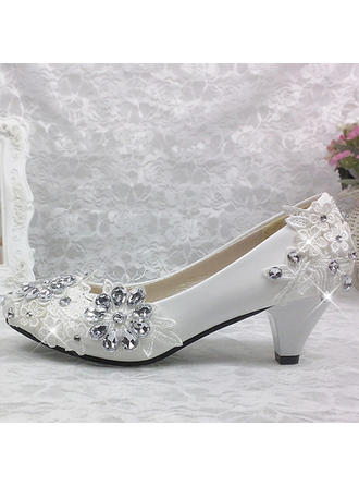 Women's Closed Toe Pumps Cone Heel Patent Leather With Rhinestone Stitching Lace Flower Wedding Shoes