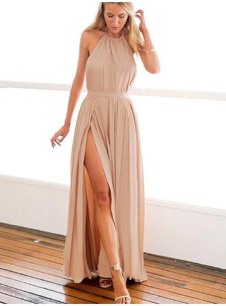 Chiffon Sleeveless A-Line/Princess Prom Dresses Halter Split Front Floor-Length