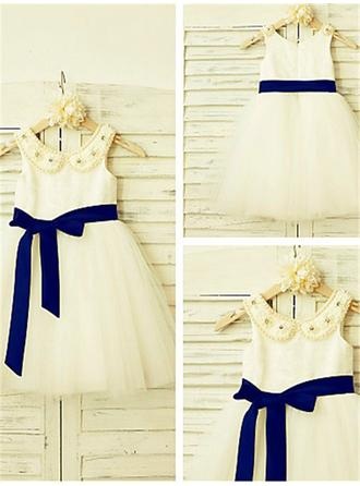 A-Line/Princess Peter Pan Collar Knee-length With Sash/Beading Satin/Tulle Flower Girl Dresses