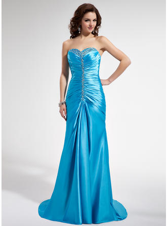 Charmeuse Sleeveless Trumpet/Mermaid Prom Dresses Sweetheart Ruffle Beading Sequins Sweep Train