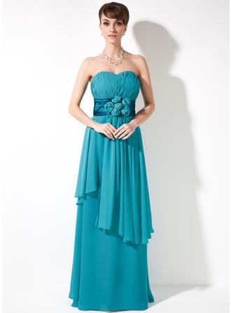 Empire-Linie Schatz Chiffon Ärmellos Bodenlang Blumen Gestufte Rüschen Kleider für die Brautmutter (008005971)