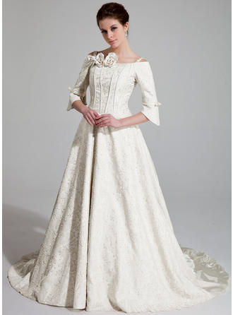 A-Line/Princess Chapel Train Wedding Dress With Ruffle Beading Flower(s)