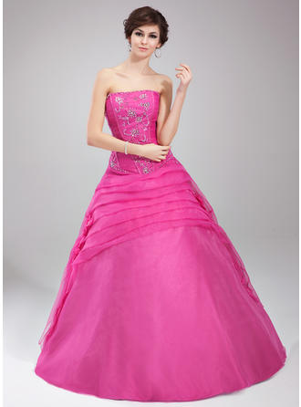 Ball-Gown Strapless Floor-Length Organza Prom Dress With Ruffle Beading Flower(s) Sequins