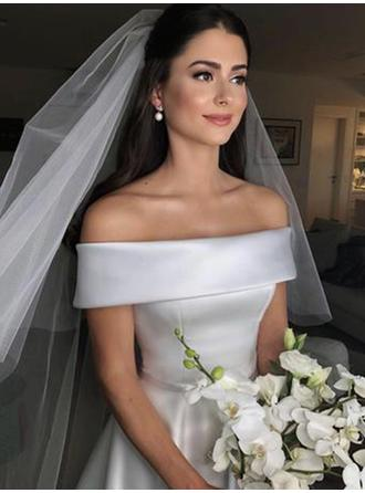 Off-The-Shoulder A-Line/Princess Wedding Dresses Satin Bow(s) Sleeveless Court Train