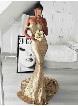 Glamorous Sequined Evening Dresses Trumpet/Mermaid Sweep Train Off-the-Shoulder Sleeveless