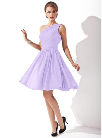 Ruffle Bow(s) One-Shoulder With Chiffon Bridesmaid Dresses