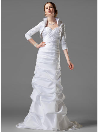 Sheath/Column Court Train Wedding Dress With Ruffle