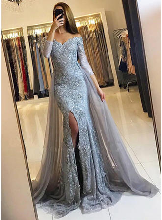 Trumpet/Mermaid Off-the-Shoulder Lace 3/4 Sleeves Court Train Split Front Evening Dresses (017145728)