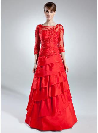 A-Line/Princess Taffeta 3/4 Sleeves Scoop Neck Floor-Length Zipper Up Mother of the Bride Dresses