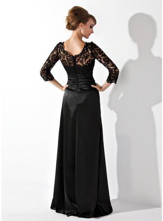 ラッフル ビーズ スクープネック Elegant Charmeuse レース ミセスドレス (008006037)