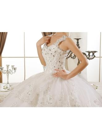 Ball-Gown V-neck Cathedral Train Wedding Dress With Lace Beading Appliques Lace Sequins
