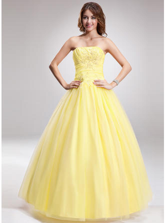 Ball-Gown Strapless Floor-Length Prom Dresses With Ruffle Beading Appliques Lace