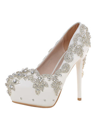 Women's Closed Toe Pumps Stiletto Heel Real Leather With Rhinestone Wedding Shoes (047205629)