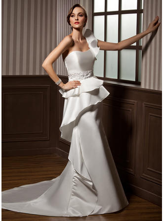 Simple Chapel Train Trumpet/Mermaid Wedding Dresses One Shoulder Satin Sleeveless