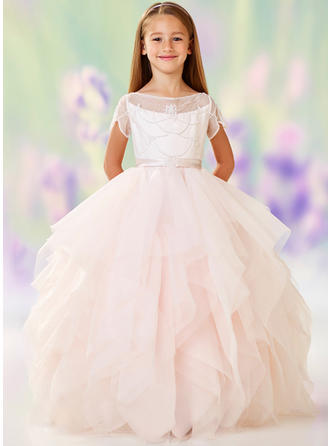 A-Line/Princess Scoop Neck Floor-length Tulle/Lace Short Sleeves Flower Girl Dresses