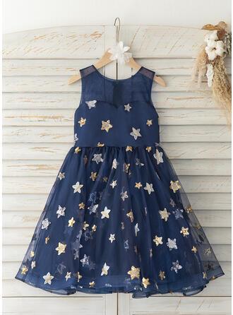 A-Line Knee-length Flower Girl Dress - Tulle Sleeveless Scoop Neck