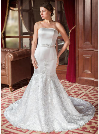 Trumpet/Mermaid Beading Sequins Bow(s) Satin Lace Chapel Train Three-dimensional Wedding Dresses