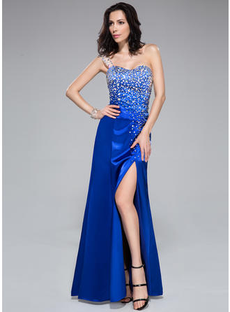 Trumpet/Mermaid Charmeuse Prom Dresses Beading Split Front One-Shoulder Sleeveless Floor-Length