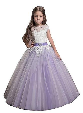 Ball Gown Scoop Neck Floor-length With Beading/Appliques Tulle Flower Girl Dresses