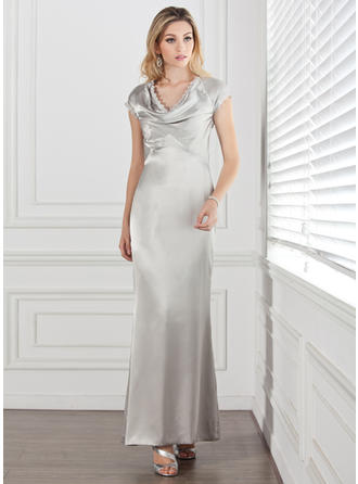 Sheath/Column Charmeuse Short Sleeves Cowl Neck Ankle-Length Zipper Up Mother of the Bride Dresses