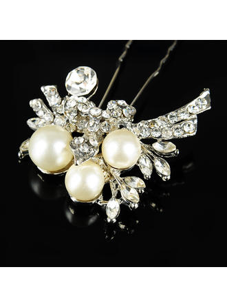 "Hairpins Wedding/Special Occasion/Casual/Outdoor/Party Rhinestone/Alloy/Imitation Pearls 3.54""(Approx.9cm) 1.77""(Approx.4.5cm) Headpieces"