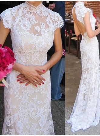 Fashion Sweep Train Trumpet/Mermaid Wedding Dresses High Neck Lace Sleeveless