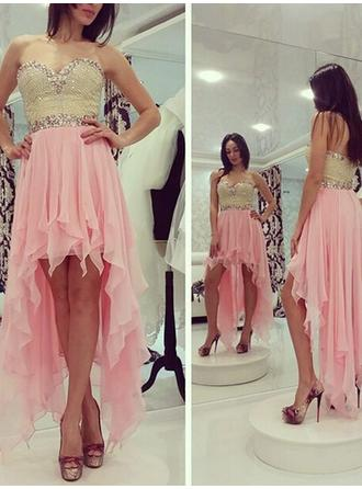 A-Line/Princess Sweetheart Asymmetrical Chiffon Cocktail Dress With Beading Sequins
