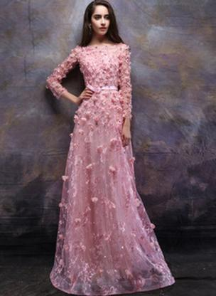 A-Line/Princess Scoop Neck Floor-Length Evening Dress With Beading Flower(s) (017196781)