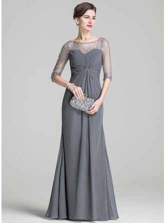 Vestidos princesa/ Formato A Decote redondo Longos Tecido de seda Vestido para a mãe da noiva com Pregueado Beading lantejoulas