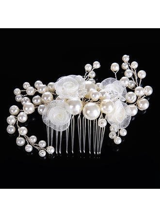 "Combs & Barrettes Wedding/Party Crystal/Imitation Pearls/Silk Flower 4.72""(Approx.12cm) 3.15""(Approx.8cm) Headpieces"