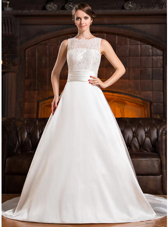Sleeveless General Plus Scoop Neck With Satin Lace Wedding Dresses