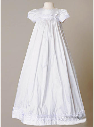 Satin Scoop Neck Bow(s) Baby Girl's Christening Gowns With Short Sleeves