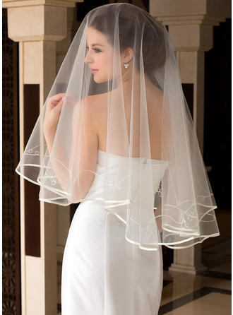 Fingertip Bridal Veils Tulle One-tier Classic With Ribbon Edge Wedding Veils