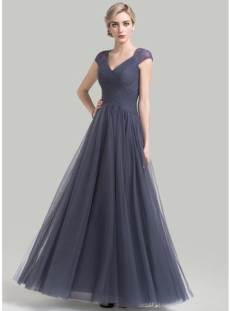 A-Line/Princess Tulle Sleeveless V-neck Floor-Length Zipper Up Mother of the Bride Dresses