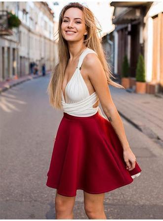 A-Line/Princess Satin Cocktail Dresses Ruffle V-neck Sleeveless Short/Mini