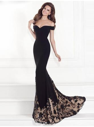 Trumpet/Mermaid Off-the-Shoulder Evening Dresses With Lace