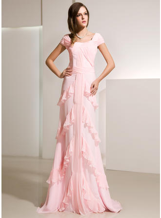 Flattering Chiffon A-Line/Princess Zipper Up Evening Dresses