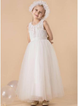 Vestidos princesa/ Formato A Decote redondo Longos Tule Sem magas Vestidos de daminha