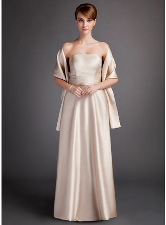 Charmeuse Sleeveless A-Line/Princess Bridesmaid Dresses Strapless Ruffle Floor-Length