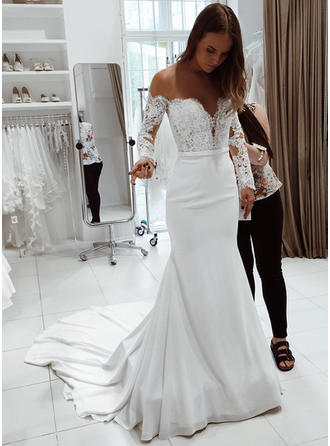 Off-The-Shoulder Trumpet/Mermaid Wedding Dresses Chiffon Lace Long Sleeves Court Train