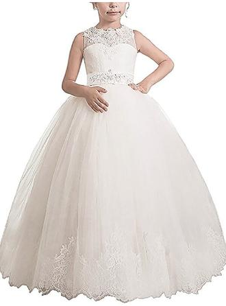 Luxurious Floor-length Ball Gown Flower Girl Dresses Scoop Neck Tulle Sleeveless