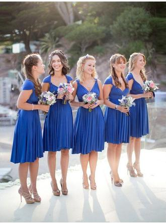 A-Line/Princess Jersey Bridesmaid Dresses Ruffle Sweetheart Sleeveless Knee-Length