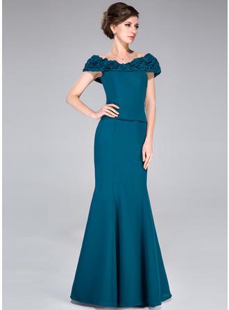 Trompete/Meerjungfrau-Linie Off-the-Schulter Chiffon Ärmellos Bodenlang Rüschen Kleider für die Brautmutter