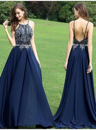 Elegant Scoop Neck Sleeveless A-Line/Princess Chiffon Prom Dresses