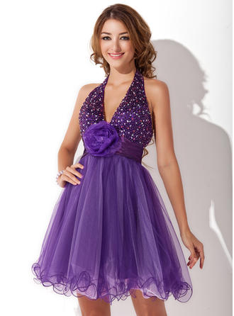 A-Line/Princess Halter Short/Mini Tulle Homecoming Dresses With Ruffle Beading Flower(s)
