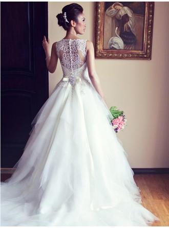 A-Line/Princess Off-The-Shoulder Chapel Train Wedding Dress With Sash Beading Bow(s) (002147866)