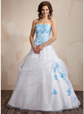 Ball-Gown Sweetheart Floor-Length Organza Prom Dress With Ruffle