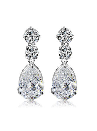Earrings Copper/Zircon/Platinum Plated Pierced Ladies' Charming Wedding & Party Jewelry