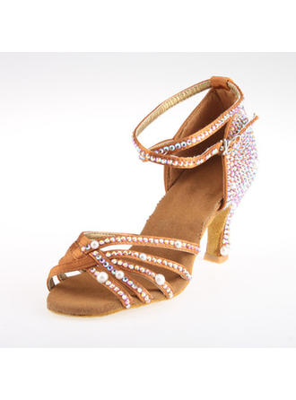 Women's Latin Heels Sandals Satin With Rhinestone Ankle Strap Dance Shoes